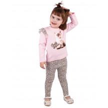 """Комплект розово-леопардовый с лосинами и блузой """"котенок"""""""