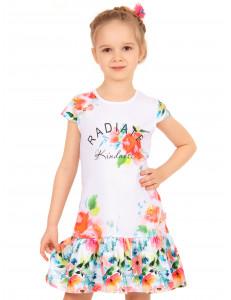 """Платье для девочек белого цвета с кокетливой юбкой """"Цветочный вальс"""""""