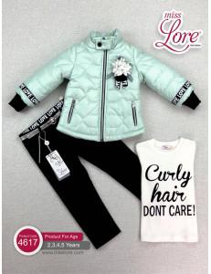 Комплект для девочек цвета ментол (куртка, джинсы и джемпер)