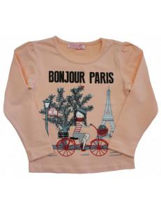 Лонгслив для девочек персикового цвета Париж