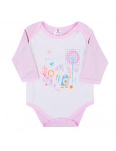 Боди розовое для малышей со слоником