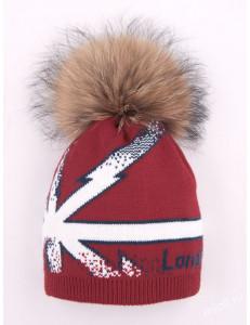 "Шапка зимняя красного цвета с помпоном с флагом ""LONDON"""