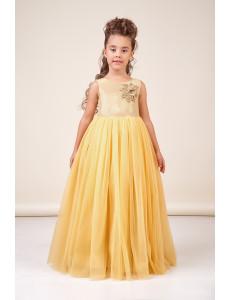 Платье нарядное в пол цвета золото Лия