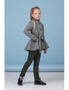 Комплект для девочек серого цвета (пальто с баской и брюки)