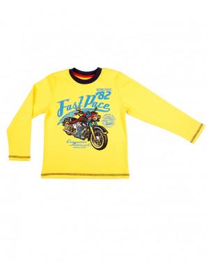 """Джемпер для мальчиков желтого цвета """"мотошоу"""""""